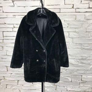 Susan Lynn Vintage Faux Fur Coat Black 2074